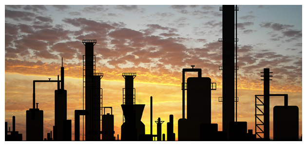 Oil Refinery Running at Sunset